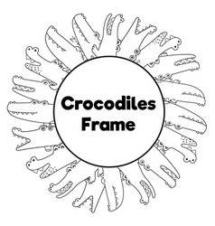 Coloring page frame with funny crocodiles vector