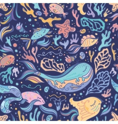 Cute blue pattern with sea animals vector image
