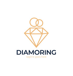 Diamond ring logo design wedding ring with vector