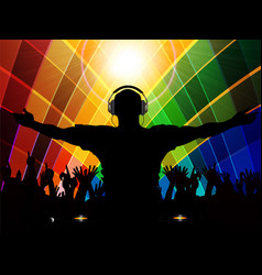 dj and crowd silhouette on multicoloured vector image