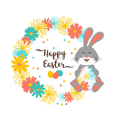 easter bunny happy easter card cute bunny vector image