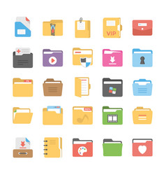 Files and folders flat icons vector
