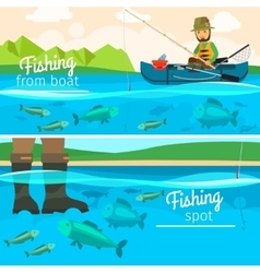 Fisherman catching fish at lake vector image
