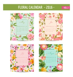 Floral Calendar - 2016 - May - August vector