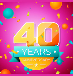 Forty years anniversary celebration design banner vector