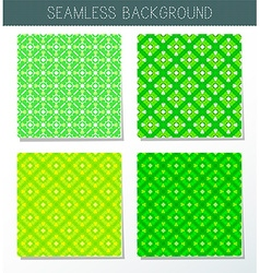 Four beautiful green seamless ornament vector