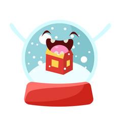 glass snow globe cheerful christmas card vector image