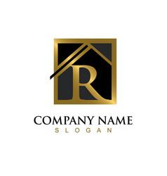 Gold letter r house logo vector