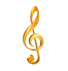 Gold treble clef white vector image