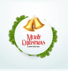 Golden christmas bell with fir leaves for vector