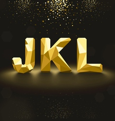 Golden lowpoly font from j to l vector