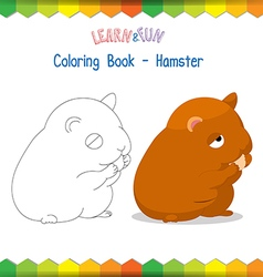 Hamster coloring book educational game vector