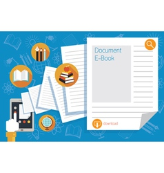 Hand and Tablet with Documents and Icons vector image