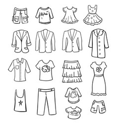 hand drawn monochrome family clothing collection vector image