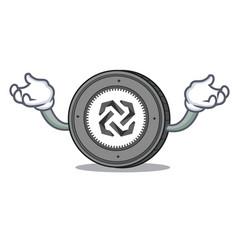 Hand up bytom coin character cartoon vector