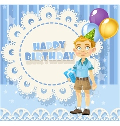 Happy Birthday blue openwork card for your vector