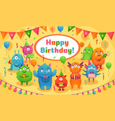 happy birthday monsters kids birthday party cute vector image