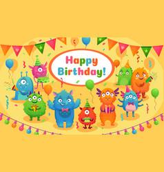 Happy birthday monsters kids birthday party cute vector