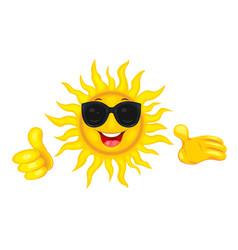 happy sun in sunglasses vector image