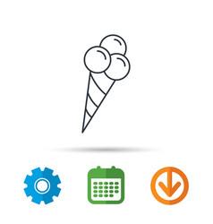 Ice cream with three balls icon sweet dessert vector