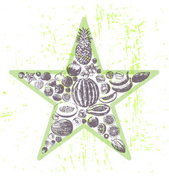 ink hand drawn fruits star vector image vector image