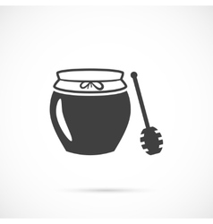 Jar of honey with wooden stick icon vector