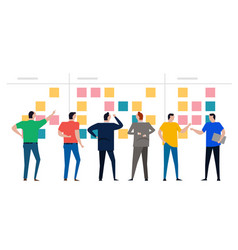 Kanban board agile scrum wall sticky notes team vector