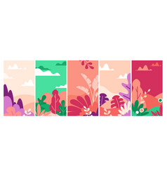 landscapes flat set vector image