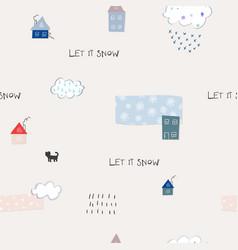 let it snow flakes fall winter season pattern vector image