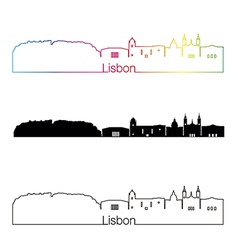 Lisbon V2 skyline linear style with rainbow vector image