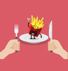 man prepare to eat scared french fries vector image