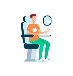 man using laptop while sitting in airplane near vector image