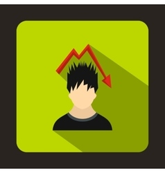 Man with falling red graph over head icon vector image