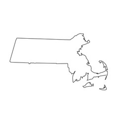 massachusetts state of usa - solid black outline vector image