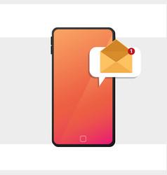 New message on frameless smartphone screen vector