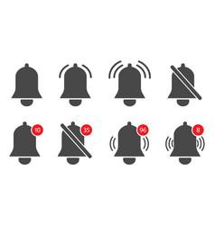 Notification bells icons alert reminder alarm vector