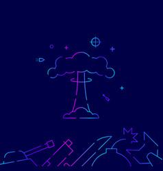 Nuclear explosion mushroom cloud gradient line vector