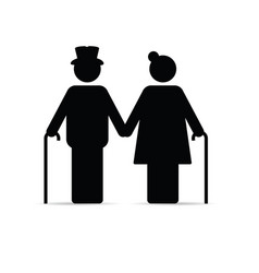 Old couple icon holding hands and with sticks vector