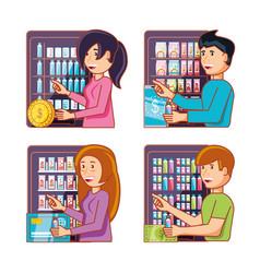 People using dispenser machines electronics vector