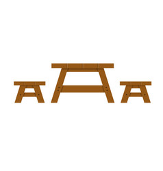 picnic wood table on a white background vector image