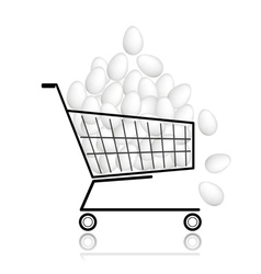Pile of eggs in shopping cart for your design vector image