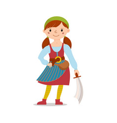 Pirate girl holding sword cutlass vector