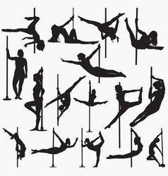 pole dancer silhouettes vector image