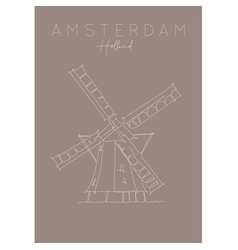 poster holland windmill brown vector image