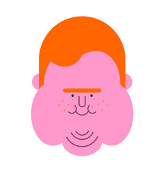 Redhead fat guy face glutton thick man fatso vector