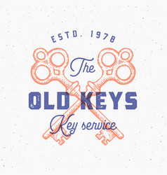 Retro print effect old keys sign abstract vector