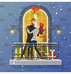 Romantic Balcony Scene Flat Poster vector image
