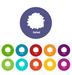salad icons set color vector image