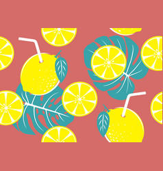 seamless pattern of yellow lemon vector image