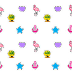 seamless pattern with anchor heart flamingo and vector image